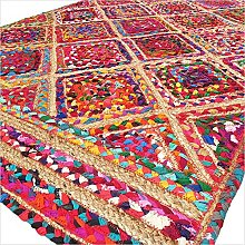 EYES OF INDIA - 3 X 5 ft Colorful Woven Jute