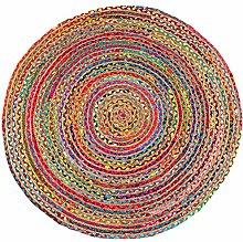 EYES OF INDIA - 4 ft Round Colorful Natural Jute