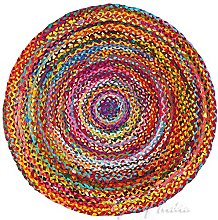 EYES OF INDIA - 4 ft Round Colorful Woven Chindi