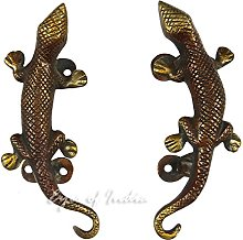 "EYES OF INDIA - 5"" Pair Red Brass Lizard"