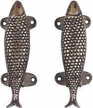 "Eyes of India - 6"" Pair Brass Fish Door Pulls"
