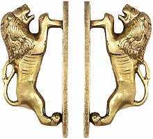 "EYES OF INDIA - 6"" Pair Brass Lion Cabinet"