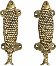 "Eyes of India - 6"" Pair Red Brass Fish Door"