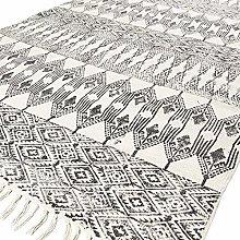 Eyes of India - 8 X 10 ft Black White Cotton Block