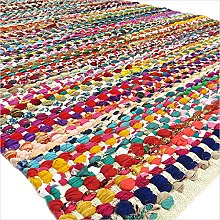 Eyes of India - 8 X 10 ft Colorful Woven Chindi
