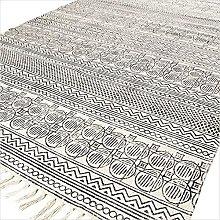 Eyes of India - 8 X 10 ft White Black Cotton Block