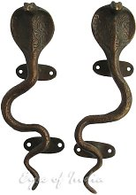 "Eyes of India - 9"" Pair Brass Snake Cobra Door"