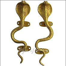 "Eyes of India - 9"" Pair Gold Brass Snake Cobra"