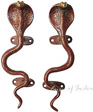 "Eyes of India - 9"" Pair Red Brass Cobra Snake"