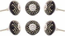 EYES OF INDIA - Set of 6 Black Ceramic Cabinet