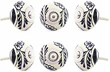 EYES OF INDIA - Set of 6 Black White Ceramic