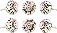 EYES OF INDIA - Set of 6 Black White Peach Ceramic