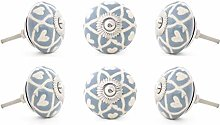 Eyes of India - Set of 6 Gray Grey Ceramic Cabinet