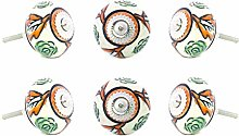 EYES OF INDIA - Set of 6 Green Orange Ceramic