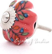 EYES OF INDIA - Set of 6 Red Pink Ceramic Cabinet
