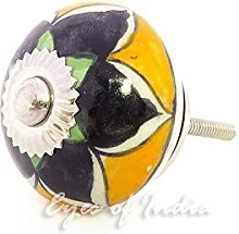 Eyes of India - Set of 6 Yellow Black Ceramic