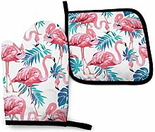 Eyliy Space Oven Mitts & Potholder Flamingo Bird