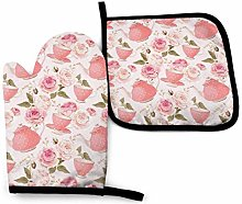Eyliy Space Oven Mitts & Potholder Pink Teapot Non