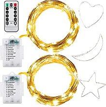 eZAKKA 2 Pack Fairy Lights Battery 10M 100 LEDs 8