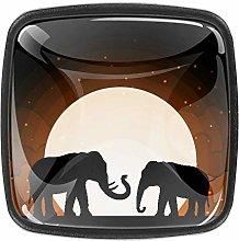 EZIOLY Drawer Knob Pull Handle Two Elephant Shadow