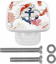 EZIOLY Drawer Knobs Anchor with Carp Fish Square