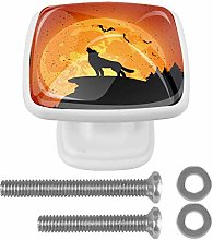 EZIOLY Drawer Knobs Halloween Background with Wolf