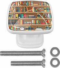 EZIOLY Drawer Knobs Shelves with Books Square