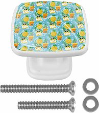 EZIOLY Drawer Knobs Yellow Pineapple Cake Drinks