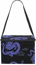 EZIOLY Purple Japanese Dragon Insulated Lunch Bag