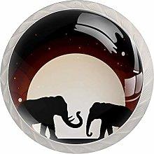 EZIOLY Two Elephant Shadow Under Moon Kitchen