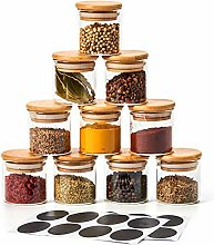 EZOWare 10 Bottles Clear Glass Spice Jar Set,