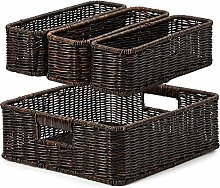 EZOWare 4 Piece Resin Woven Storage Basket Set,