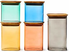 EZOWare Colorful Stackable Square Glass Jar Set,