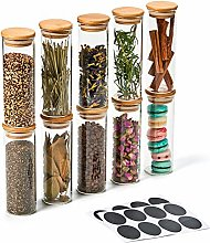 EZOWare Set of 10 Airtight Clear Glass Spice Jars,