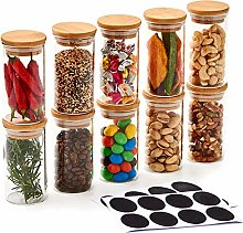EZOWare Set of 10 Small Airtight Clear Spice Glass