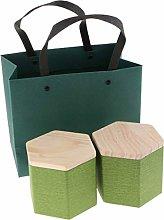 F Fityle 2Pcs Wooden Lid Tea Storage Jar Caddy