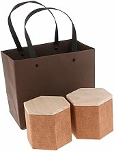 F Fityle 2Pcs Wooden Lid Tea Storage Jar Caddy