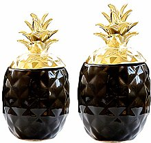 F Fityle 2x Ceramic Pineapple Shaped Spice Jar,
