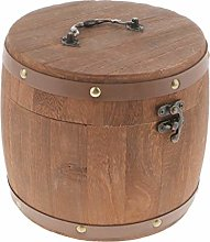 F Fityle Large Wooden Barrel Tea Canister Kitchen