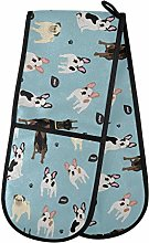 F17 Double Oven Gloves Funny Woof Dog Animal Print