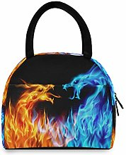 F17 Lunch Bag Cool Blue Red Fiery Dragon Animal