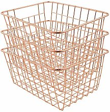 FabFinds Soho Wire Storage Basket in Rose Gold