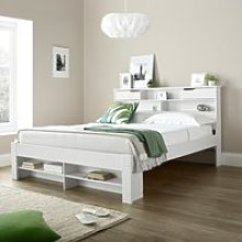 Fabio White Wooden Bookcase Storage Bed Frame Only