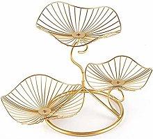 Fablcrew3 Tier Metal Fruit Basket, Gold Wire