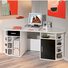 Fabri Wooden Corner Computer Desk In White With