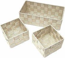 Fabric 3 Piece Basket Set Rebrilliant Colour: Beige