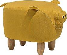 Fabric Animal Stool Yellow PIGGY