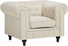 Fabric Armchair Beige CHESTERFIELD