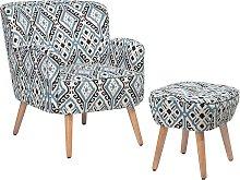 Fabric Armchair with Footstool Multicolour TUMBA