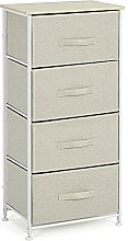 Fabric Chest of 4 Drawers Storage Cabinet Metal